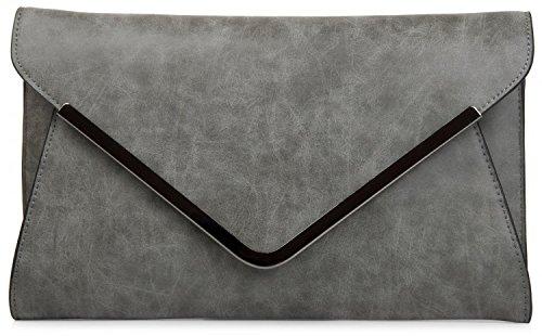 styleBREAKER Envelope Clutch, Abendtasche im Kuvert Design mit Schulterriehmen und Trageschlaufe, Damen 02012047, Farbe:Dunkelgrau