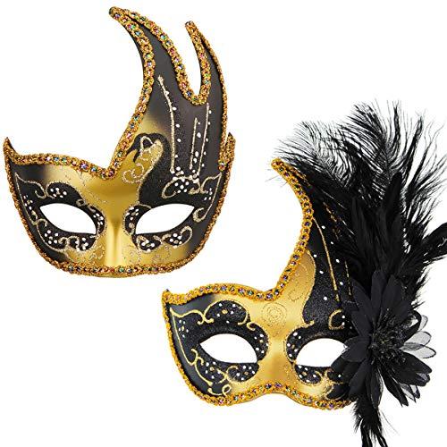 2 Pezzi Mardi Gras Maschera a Sfera Veneziana Coppia Masquerade Mask Set Party Costume Accessorio (8)
