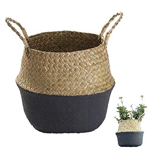 YSGLIFE rotin tissé à la main en jonc de mer - Housse pour pot de fleurs - Décoration dintérieur - Également pour le rangement, le pique-nique et le vase de fleurs de jardin (grand, noir)