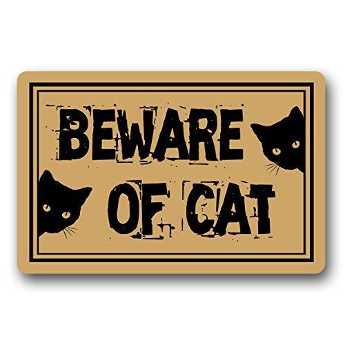 Norma Lily ¡Cuidado con el Gato! Felpudo de Entrada para Interior y Exterior, no Tejido, 30 x 18 Pulgadas