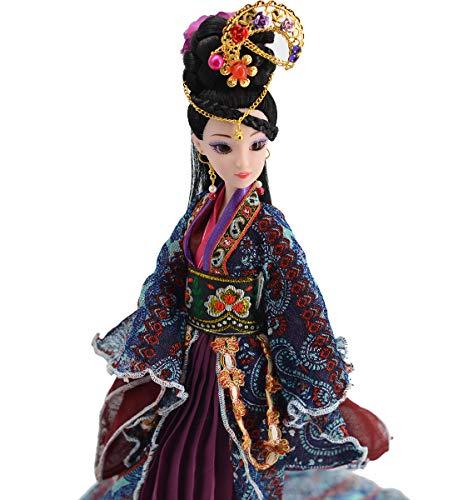 Sammlerpuppe, Figur mit exquisiter orientalischer Frisur und Puppenkleidung, Chinesische Puppe für Mantel Schreibtisch Dekor, k