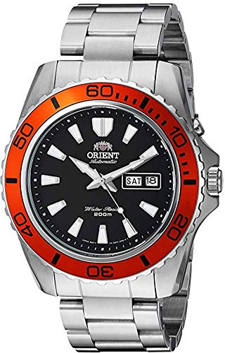 Orient Men's 'Mako XL' Japanese Automatic Stainless Steel Diving Watch, Color: Black Dial, Orange...