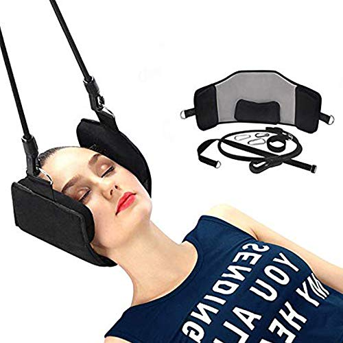 HUONIUPIC Cuello Hamaca portátil Aparato de tracción Cervical y Relajación Honda Hamaca Alivio de la Cabeza y Dolor en el Hombro/Estrés en 10 Minutos o Menos para los Trabajadores