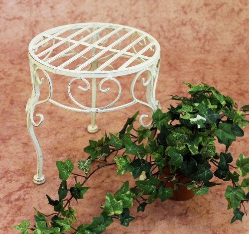DanDiBo Blumenhocker Metall Weiß Rund 25 cm Blumenständer 20218 Pflanzenständer Beistelltisch Klein