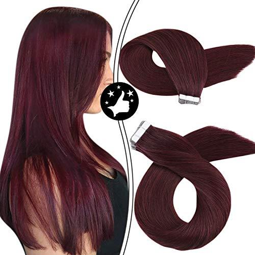 Moresoo Extension Cheveux Tape 18 pouces/45 cm Extension Cheveux Bande Adhesive Toucher Soyeux et Agréable 2.5g*20Pièce Tape in Extensions Human Hair