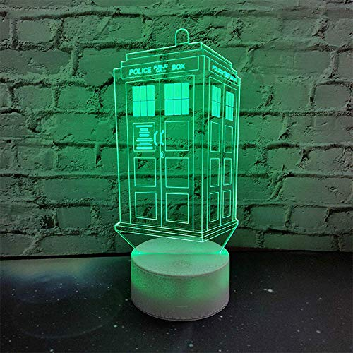 xjzjy 3D Illusionslampe 7 Farben Wechsellampe Doctor Who Police Box 3D Lampe Acryl LED USB Tischlampe TARDIS Lights Mehrfarbiges Bulbing Light Kid Geschenk