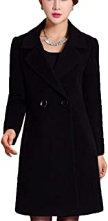 Women's Basic Woolen Overcoat Double-Breasted Outdoor Long Trench Coats