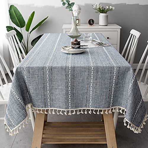 Mantel de Encaje de algodón de Lino a Rayas a Prueba de Polvo Mantel de Arte hogar Mantel de Boda Sala de Estar Tela Rectangular Z140x200cm