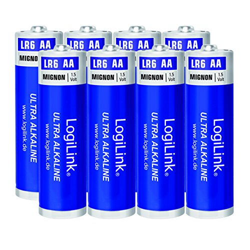 LogiLink AA Mignon 1.5V Batterie (8 Stück folienverpackt), Ultra Power Alkaline LR6, für diverse Geräte wie z.B. Fernbedienungen, Spielzeuge, Rauchmelder, etc.