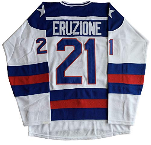 1980 USA Olympic Hockey #21 Mike Eruzione #17 O'Callahan #30 Jim Craig Miracle On Ice USA Jersey White Blue (21 White, XX-Large)