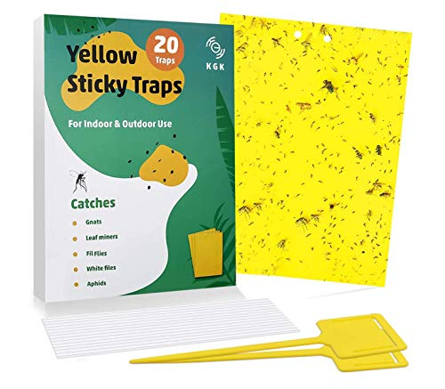 KGK Sticky Traps - 20 Pack, Dual-Sided Yellow Sticky Traps for Fungus Gnats, Aphids, and Other Flying Plant Insects - 6x8 Inches (Twist Ties and Holders Included)