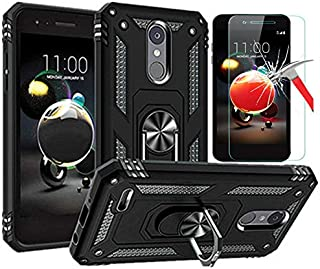 LG Aristo 3 Case, LG Aristo 2 / LG Tribute Dynasty Case with Tempered Glass Screen Protector, L00KLY Hybrid Dual Layer 360 Degree Rotating Ring Holder Kickstand Case with Magnetic Car Mount (Black)