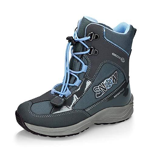Geox Mädchen Snowboots New Alaska Girl, Kinder Winterstiefel,Schneestiefel,Schneeschuhe,Thermostiefel,Moon Boots,DK Grey/Sky,29 EU / 11 UK Child