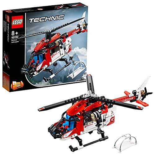 LEGO 42092 Technic Rettungshubschrauber Bauset, 2-in-1 Flugzeug Spielzeug für Jungen und Mädchen ab 8 Jahren