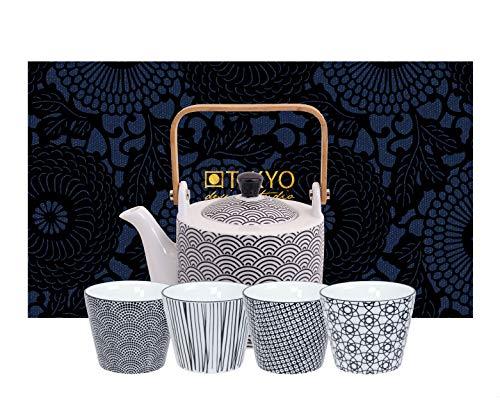 TOKYO design studio Nippon Black thee-set zwart-wit, 5-TLG, 1x theepot 0,8 l en 4x theekopjes 180 ml, Aziatisch porselein, Japans design, incl. geschenkverpakking
