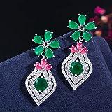 SALAN Zirconi Elegante Oro Giallo Argento Rosso Verde Smeraldo Cz Pietra Fiore Orecchini Pendenti per Le Donne Gioielli Moda Vintage