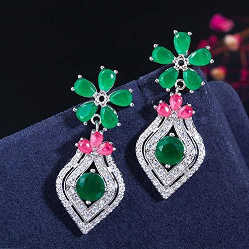 SALAN Circones Elegantes Oro Amarillo Plata Rojo Verde Esmeralda Cz Pendientes De Gota De Flor De Piedra para Mujer Joyería Vintage De Moda