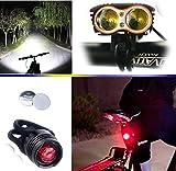 E-Fun Faro Bicicletta Anteriore LED Luce luci per Bici Bicicletta MTB,Torcia da Testa Lampada Frontale Bici Faro,(4 modalità,2 LED) CREE U2 Max.5000lm + 1 PEZZ0 Luce Posteriore Bicicletta