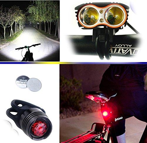 EFUN Constefire Faro Bicicletta Anteriore LED Luce luci per Bici Bicicletta MTB,Torcia da Testa Lampada Frontale Bici Faro,(4 modalità,2 LED) CREE U2 Max.5000lm + 1 PEZZ0 Luce Posteriore Bicicletta