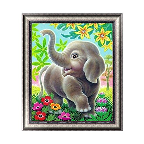 Buybuying DIY 5D Diamond Embroidery Painting Cross Stitch Art Craft Home Decor Happy Elephant Handmade Gift Set