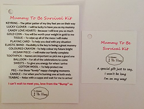 "New Mummy To Be Survival Gift Kit Card From ""The Baby/ Bump"" Fantastic Gift/Present For Birthday, Christmas,Mothers Day, Congratulations, Great For Any Occasion"