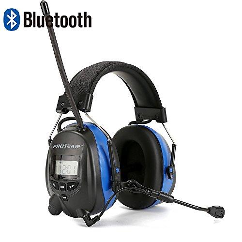 PROTEAR Gehörschutz mit Bluetooth,Boom Mikrofon & FM/AM Radio Gehörschutzer,für Industrie,BAU und Mähen Lärmreduzierung,SNR 30dB