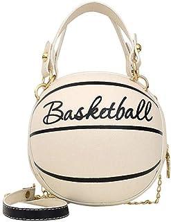 HUANG Sacs à main de basket-ball pour femmes sac à bandoulière en forme de boule ronde sac à main chaîne sacs à bandoulièr...