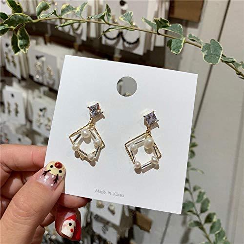 Erin Earring Versión Japonesa Y Coreana De Los Pendientes Geométricos De Gota Cuadrada Femenina Elegante Simulación De Joyas De Cristal De Perlas