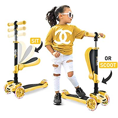 Hurtle 3 Wheeled Scooter for Kids - Stand & Cruise Child/Toddlers Toy Folding Kick Scooters w/Adjustable Height, Anti-Slip Deck, Flashing Wheel Lights, for Boys/Girls 2-12 Year Old HURFS49Y (Yellow)