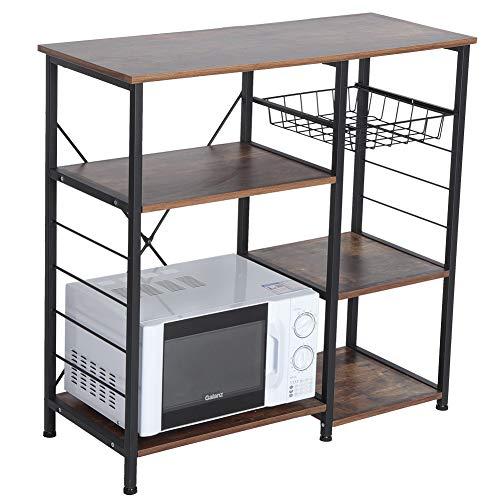 Kitchen Bakers Rack 4 Tier Vintage Utility Cart Storage Shelf Microwave Oven Stand Spice Rack Organizer Workstation with Pull Out Wire Basket for Home Kitchen Storage