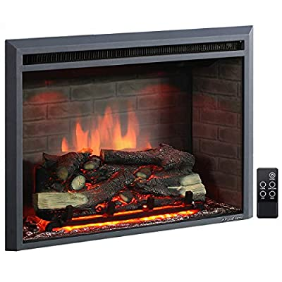 PuraFlame 33 Inches Western Electric Fireplace Insert with Remote Control, 750/1500W, Black