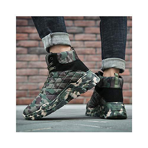 HaoLin Ventilador del Ejército Botas Militares Botines Cálidos Zapatillas De Invierno Zapatos De Trabajo De Felpa,Green-45