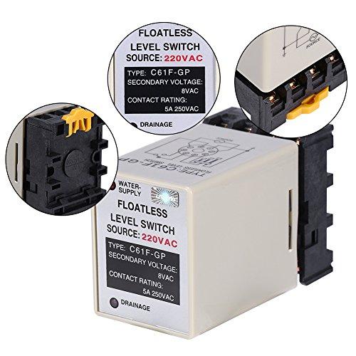 Vlotterloze niveauschakelaar, 50/60 Hz niveauschakelaar met basis C61F-GP AC220V