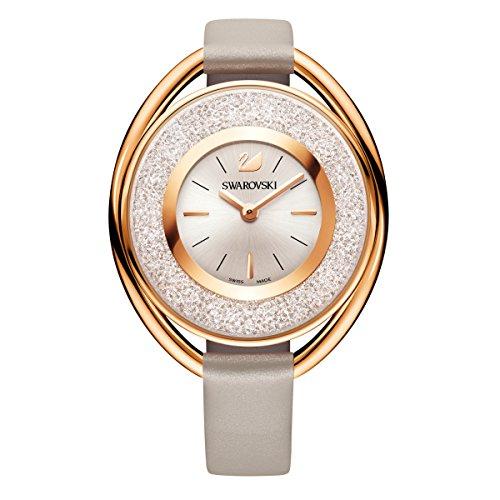 Swarovski Crystalline Oval Armbanduhr für Frauen, graues Lederarmband, rotgold glänzendes PVD-Finish