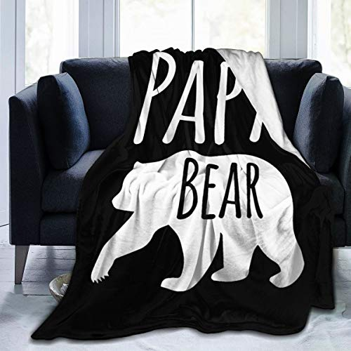 Best Papa Bear Flannel Throw Blanket, Ultra Soft Lightweight Microfiber Fleece Blanket Perfect For Couch Sofa Or Bed Father's Day Gift S (50'x40')