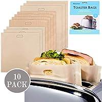 bolsas para tostadora, bolsas antiadherentes, reutilizables resistentes al calor y sin gluten, para sándwiches, pizza, queso, tostadas de fibra de vidrio, para hornear en microondas Juego de 10