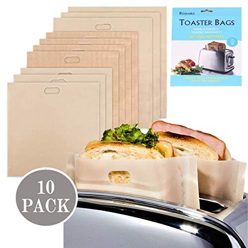 Toaster Beutel Non-Stick Wiederverwendbare Toastabags Waschbar Teflon Toaster Beutel für Toast Sandwich, Sandwich-Bag Anzug für Mikrowelle Grill Toaster LFGB Zertifizierung 10 Stück