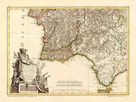 AFDRUKKEN-op-GEROLDE-CANVAS-Portugal,-de-zuidelijke-Algarve,-in-1780-Zannoni-GiovanniAntonioBartolomeoRizzi-museo-Afbeelding-gedruckt-op-canvas-100%-katoen-Afmeting-71_X_96_cm