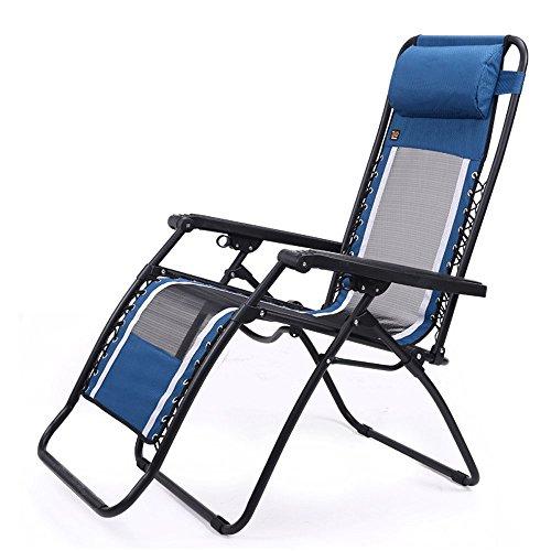 LNNZPL Silla plegable silla de descanso reclinable reclinable anciano mujer embarazada balcón silla plegable Malla transpirable sofá de oficina silla de playa gravedad cero almuerzo cómodo sillón azul