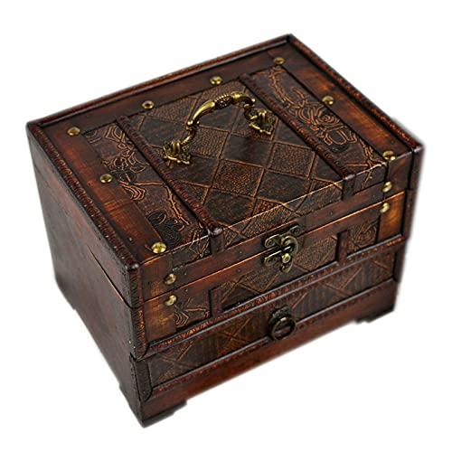 Shunfaji - Caja de almacenamiento de madera, caja de almacenamiento clásica con espejos, cosméticos y joyas (B)