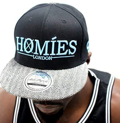 New Homies caps Casquette à visière plate, laine feel Bonnet Casquette hip hop-Noir/Bleu