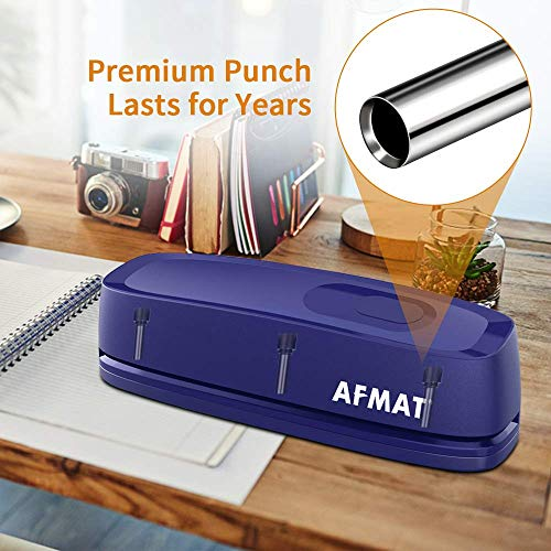 Electric 3 Hole Punch, AFMAT 3 Hole Punch Heavy Duty, 20-Sheet Punch Capacity, AC or Battery Operated Paper Puncher, Effortless Punching, Long Lasting Paper Punch for Office School Studio, Blue Photo #5