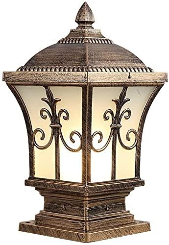 Luces post luces al aire libre luces de pilares al aire libre impermeable poste lámpara de bolardo jardín vidrio helado con lámparas de jardín de latón antiguo columna tradicional E27 Lámpara de piedr