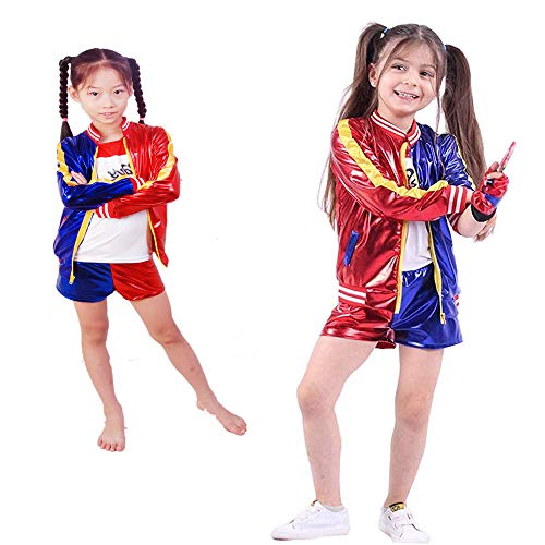 Quinn Costume del Pagliaccio per i Bambini Ragazze Harley Abbigliamento Suicide Squad Harley Quinn Set Suit Halloween Festival Vacanze Festa di Carnevale Giochi di Ruolo Outfits,XL