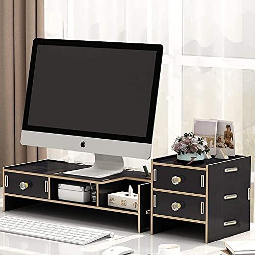 DAGCOT Monitor de Ordenador portátil de la Tabla de Madera Soporte de Escritorio del Organizador del almacenaje del Ordenador portátil del Monitor TV Riser Amarillo Grano de Madera 1 Nivel