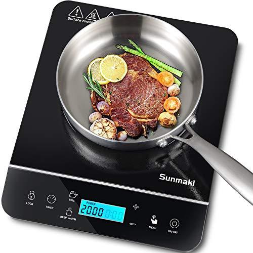 Induktionskochplatte,Sunmaki 2000W einzel-Induktionskochfeld LCD-Sensor Touch,10 Leistungsstufen und 10 Temperatureinstellungen,Sicherheitsverriegelung,4-Stunden-Timer,schwarz