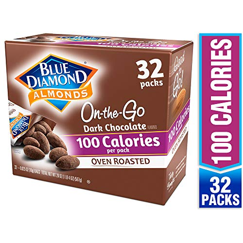 Blue Diamond Almonds, Dark Chocolate Cocoa Dusted Almonds, 100 calorie packs (32 count)