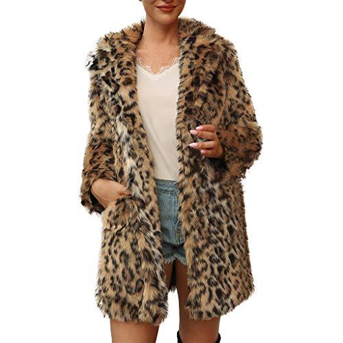 Auifor dames dames warm kunstbont mantel jas luipaard kraag bovenkleding