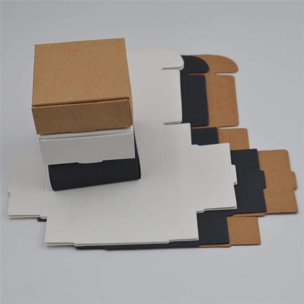 Caja de Papel Kraft de 10 Unidades, Color marrón, Hecha a Mano, Caja de Regalo de Papel Blanco para Manualidades, Caja de Regalo Negra, Caja de joyería, Caja de cartón, Negro, 7.5x7.5x3cm: