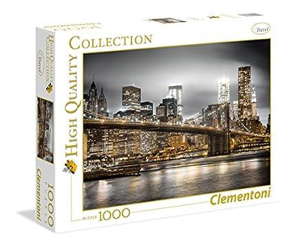 Clementoni- New York Skyline Los Pingüinos De Madagascar Puzzle, 1000 Piezas, Multicolor (39366)